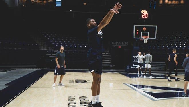 Xavier University graduate transfer Kyle Castlin shoots a jump shot during practice on Wednesday, Sept. 5, 2018 at Xavier University's Cintas Center.