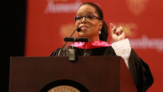 Oprah Winfrey speaks at the USC Annenberg School for Communication and Journalism Commencement ceremony on May 11, 2018 in Los Angeles.