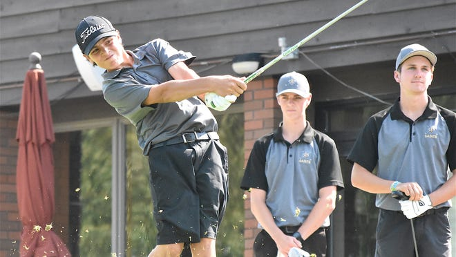 Sandy Valley's John Wood hits a tee shot on the first hole at Union Country Club.