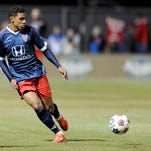 Indy Eleven midfielder Kleberson with the ball against the Chicago Fire reserve team at the Boilermaker Soccer Complex, Tuesday, April 1, 2014, in West Lafayette. The Chicago Fire won the game 3-1.