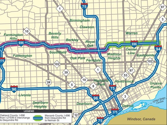 MDOT will close I-696 between I-94 and I-75 to give