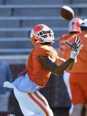 Clemson wide receiver Amari Rodgers (3) during the team's practice on Wednesday, April 4, 2018 at Clemson's Memorial Stadium.