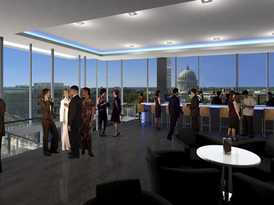 An artist's rendering shows the widespread view expected on the 10th floor of the new AC Hotel, luxury and boutique lodging expected to open in early 2017 in downtown Madison.