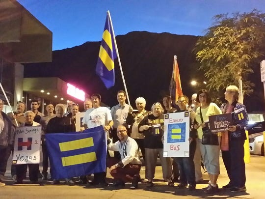 HRC PAC's Equality Bus before its departure Thursday, outside the LGBT Community Center of the Desert in Palm Springs. (Feb. 18, 2016)