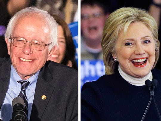 Democratic presidential candidates Bernie Sanders and