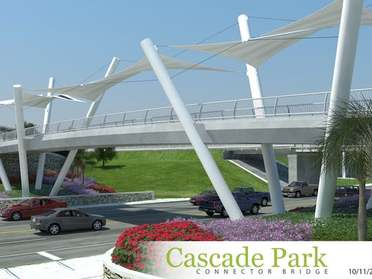 A rendering of the bridge at Capital Cascades Crossing, the deck of which will be installed this weekend.