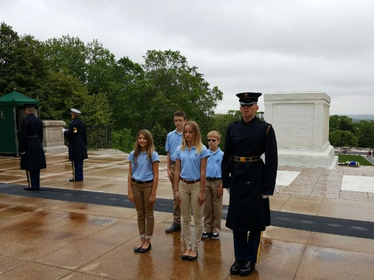 Casey Hendra, Emma Robertson, Derek Jones and Ryan Scharlau helped place a wreath at the Tomb of the Unknown Soldier in Washington, D.C.