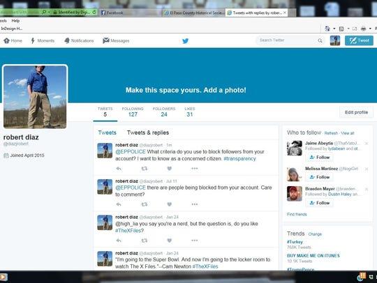 Robert Diaz took a screen shot of his Twitter post