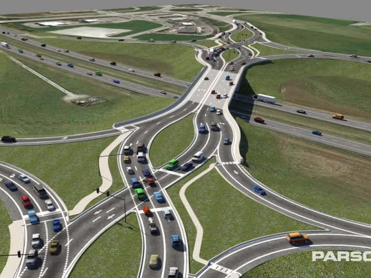 A rendering of planned improvements at Exit 210.