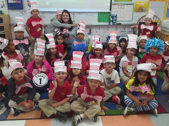 School of Science and Technology students celebrated Dr. Seuss' birthday Thursday, March 2. Kindergarten students participated practiced reading aloud throughout the day. They are learning how to write complete sentences in English class.