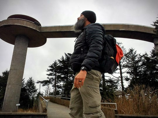 Benny Braden takes a break on a hike by Clingmans Dome in the Great Smoky Mountains National Park.