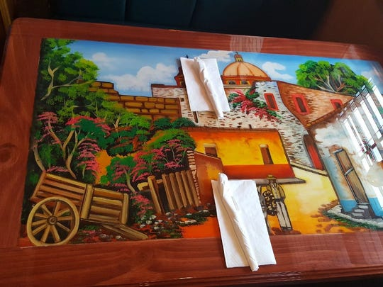Each table at El Javenaso Mexican Restaurant in Medford has paintings on them to give it an authentic atmosphere.