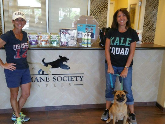 Dawn Ward and Paula Savarese, owners of Dogs Love Kale, deliver donations with (adoptable) Spike at the Humane Society Naples. A campaign to raise funds for area pet shelters and relief organizations struggling after Hurricane Irma raised $10,000 plus thousands of dollars in in-kind donations.