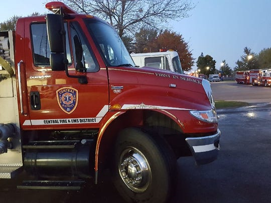 Central Fire & EMS fire truck sits out waiting to take part in the Silent Remembrance Parade on Wednesday night.