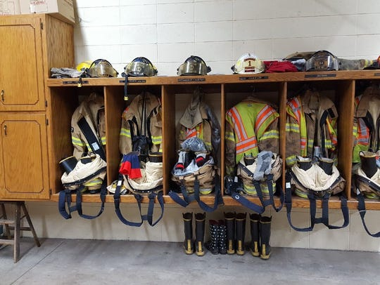 Firefighter gear in the Colby Fire Department.