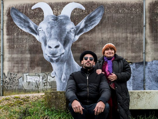 """Film legend Agnes Varda, pushing 90, and whippersnapper JR (right) lead a tour of rural France in """"Faces Places."""""""