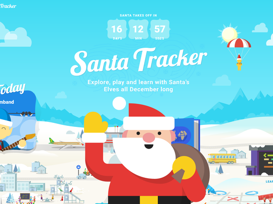 A screenshot of the Santa's Village landing page, which has activities available all December long.