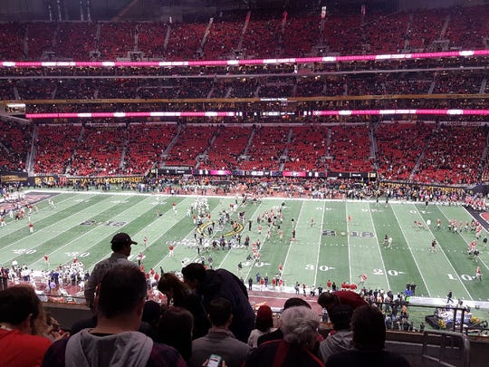 Bill Jahn of Menomonee Falls snapped this photo of his seats from the Mercedes-Benz Stadium in Atlanta before the start of the NCAA football national title game.