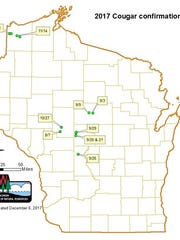 This map shows locations of confirmed video and photos of cougars in Wisconsin in 2017.