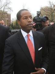 New York state senator Malcolm Smith arrives at the federal courthouse in White Plains for his arraignment April 23, 2013. ( Frank Becerra Jr / The Journal News )
