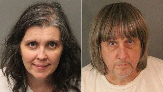 """This combination of pictures created on January 15, 2018, shows booking photos from the Riverside County Sheriff's Department of David Allen Turpin (R), 57, and Louise Anna Turpin, 49.  The California couple have been arrested after authorities found a dozen malnourished siblings held captive in their home, some shackled in the dark to their beds with chains and padlocks, officials said on January 15, 2018. Authorities launched a torture probe and set bail at $9 million for the parents after a 17-year-old girl escaped the house on Sunday and called 911.   / AFP PHOTO / Riverside County Sheriff's Department / Jose ROMERO / RESTRICTED TO EDITORIAL USE - MANDATORY CREDIT """"AFP PHOTO / Riverside County Sheriff's Department"""" - NO MARKETING NO ADVERTISING CAMPAIGNS - DISTRIBUTED AS A SERVICE TO CLIENTS  JOSE ROMERO/AFP/Getty Images ORIG FILE ID: AFP_WR1IS"""