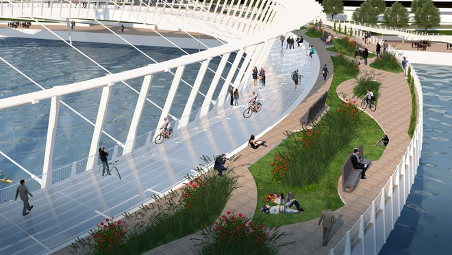 Franklin-based Design Resources Group Architects has designed a campus-connecting Rutgers University pedestrian bridge that also would serve as a community park suspended over the Raritan River.