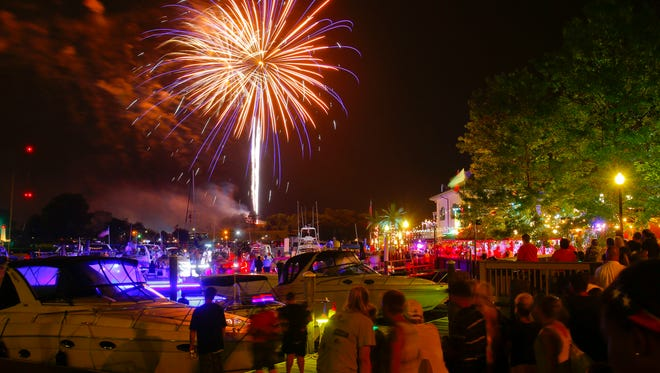 Fireworks burst over the canal basin during the Chesapeake City Independence Day celebration in 2015.