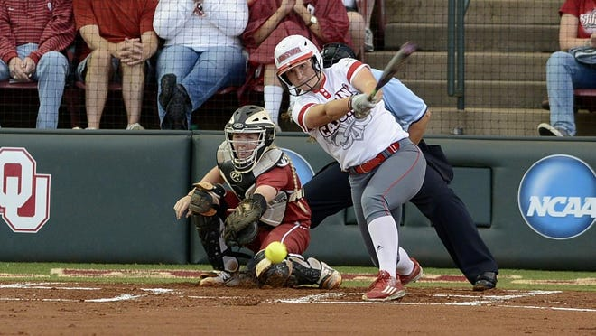 UL's Shellie Landry hits a smash to shortstop during game two of the NCAA Super Regionals on Friday in Norman, Okla.