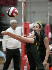 Wittenberg-Birnamwood's Danica Wendler hits the ball during the volleyball game against SPASH at Stevens Point Area Senior High School, Tuesday, Aug. 25, 2015.