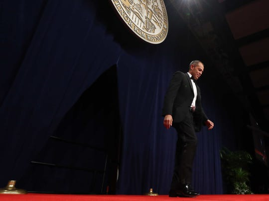 Judge Christopher McDonald is introduced during the Iowa Governor's Inaugural Ball on Friday, Jan. 16, 2015, at the Iowa Community Choice ball room inside the Iowa Events Center in Des Moines, Iowa.