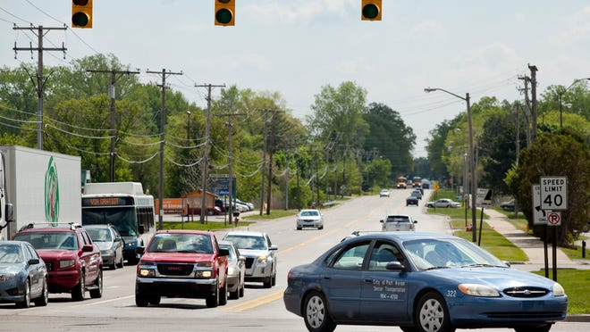 Vehicles travel through the intersection of Krafft Road and M-25 Wednesday, May 27, 2015 in Fort Gratiot. The intersection has the highest rate of accidents in St. Clair County, averaging 31.4 crashes per year. Between 2010-14, 107 of the accidents were rear-end, and 56 were angle or left-turn.