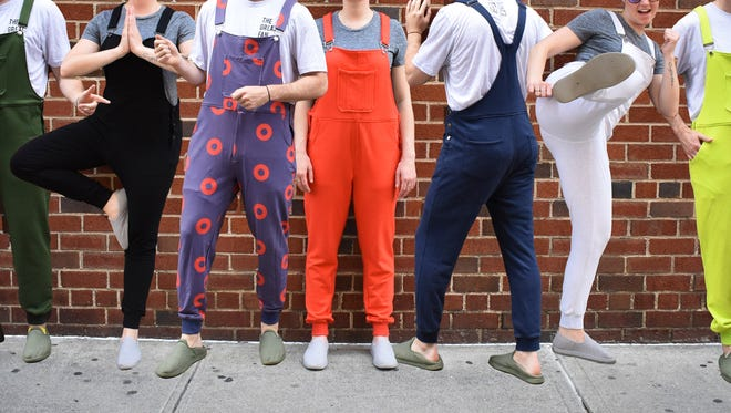 Swoveralls were designed in 2017 by New York entrepreneur Kyle Bergman to combine a sweatpant with an overall and add a zipper fly for men.