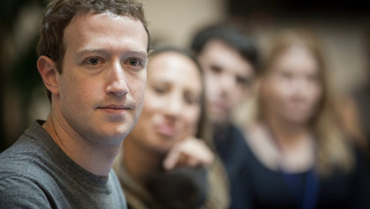Facebook CEO Mark Zuckerberg speaks to guests gathered