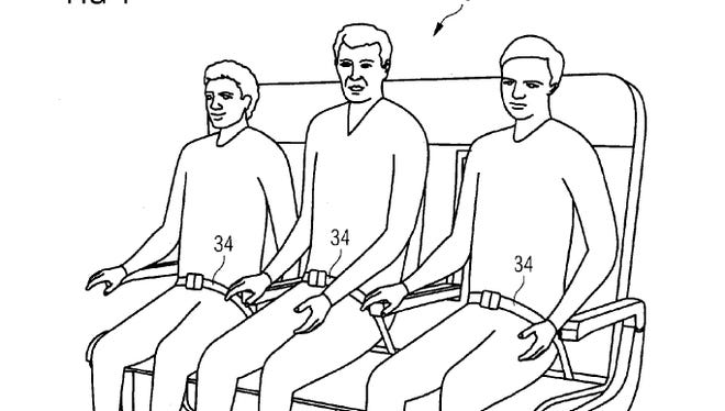 "A drawing that accompanies Airbus' ""Re-Configurable Passenger Bench Seat"" patent ."