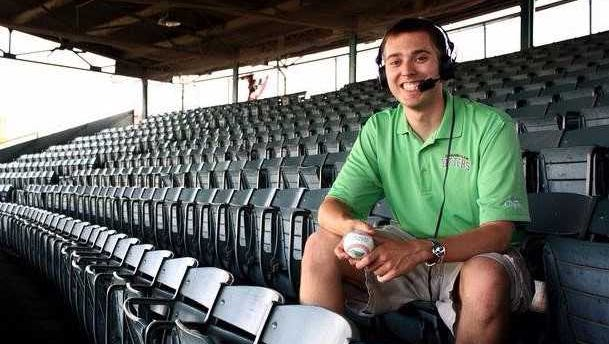 Former Evansville Otters  former broadcaster Mike Radomski seen here at Bosse Field. Radomski died in the early morning hours on Oct. 12 in an automobile accident in Florida.