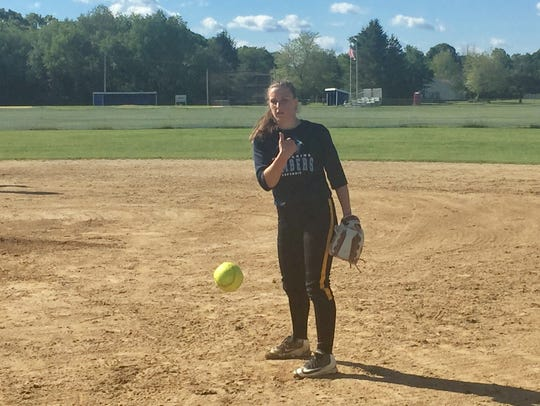 Pine Plains' Johanna Schmidt works on her pitches during