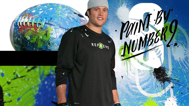 Proceeds from Lions quarterback Matthew Stafford's five paintings will benefit the S.A.Y. Detroit Play Center.