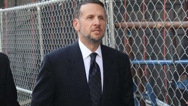 David Wildstein arrives for court in Newark on Friday, Sept. 23, 2016. On his third day of testimony in the George Washington Bridge scandal Tuesday, Sept. 27, 2016, Wildstein said he and Bill Baroni briefed New Jersey Gov. Chris Christie about the gridlock in Fort Lee, N.J., on Sept. 11, 2013.