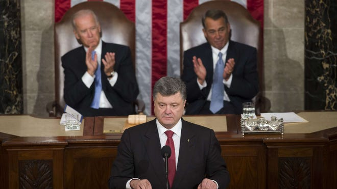 Ukrainian President Petro Poroshenko addresses a joint session of Congress on Sept. 18 in Washington.