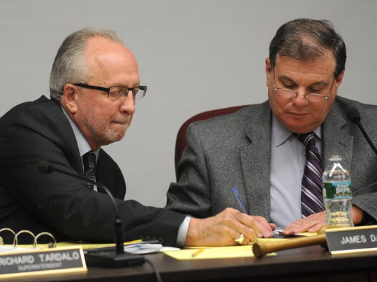 Clifton school board trustee Jim Daley, at right, and Superintendent Richard Tardalo challenged legislators to revamp the state's school funding system.