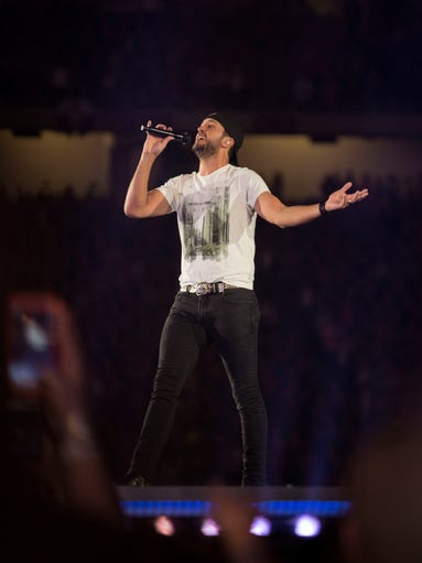 Luke Bryan performs during the Kick the Dust Up Tour