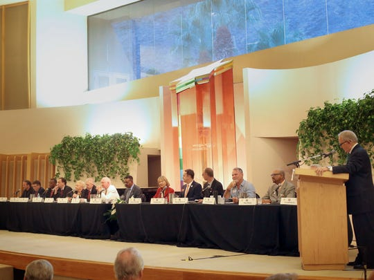 All fourteen candidates for mayor and city council for Palm Springs debate each other at Temple Isaiah on Wednesday.