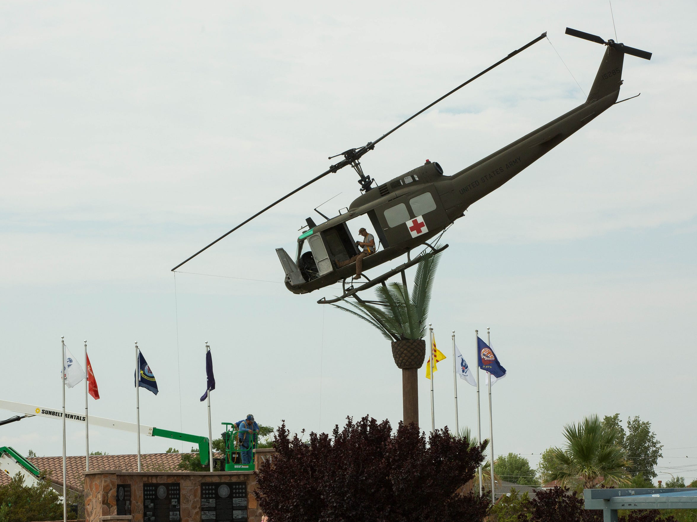 "The Bell UH-1 Iroquois ""Huey"" helicopter at Veterans Memorial Park is part of Frances Williams' contribution to the Vietnam War monument."