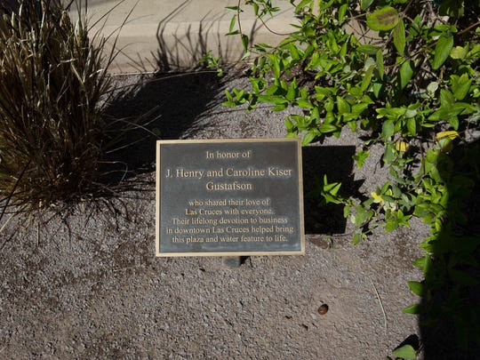 One of two placards honoring J. Henery and Caroline