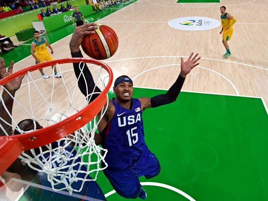 Olympics: Basketball-Men's Team-Preliminary AUS vs USA