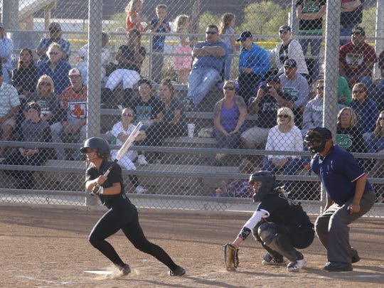 Farmington's Meghan Shim hits a leadoff double in the top of the third inning against Piedra Vista on Tuesday at the Farmington Sports Complex.