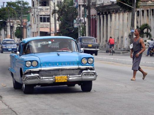 U.S. cars from the 1950s still flood Cuban streets.