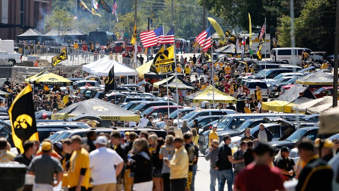 Fans tailgate Saturday, Sept. 8, 2012 outside of Kinnick Stadium in Iowa City.  (Brian Ray/The Gazette-KCRG)