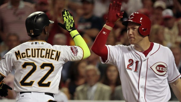 National League outfielder Andrew McCutchen (22) is