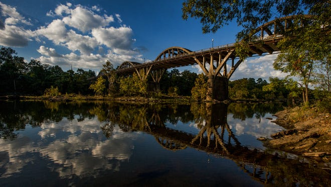 The iconic Bibb Graves Bridge in Wetumpka on Oct. 28. The city's history can be traced all the way back to French colonial days when Fort Toulouse was founded in 1714 as the farthest north trading point from Mobile.